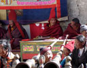 Monks playing trumpet horns at Lo Mantang