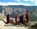 Monks admire the view
