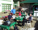 Trekking group stop for tea in a lodge